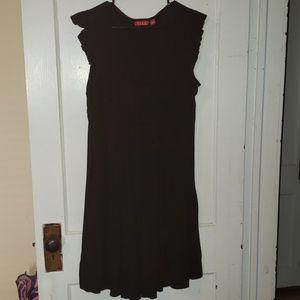 Elle black pleated front dress